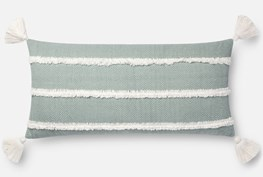 Accent Pillow-Magnolia Home Herringbone Stripe Lt. Blue 12X27 By Joanna Gaines
