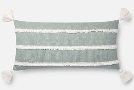 Accent Pillow-Magnolia Home Herringbone Stripe Lt. Blue 12X27 By Joanna Gaines