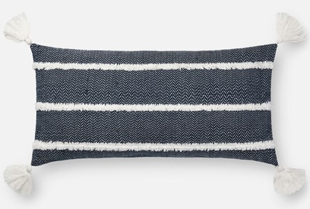 Accent Pillow-Magnolia Home Herringbone Stripe Navy 12X27 By Joanna Gaines