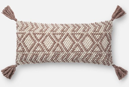 Accent Pillow-Magnolia Home Diamond Knot Burgundy 12X27 By Joanna Gaines