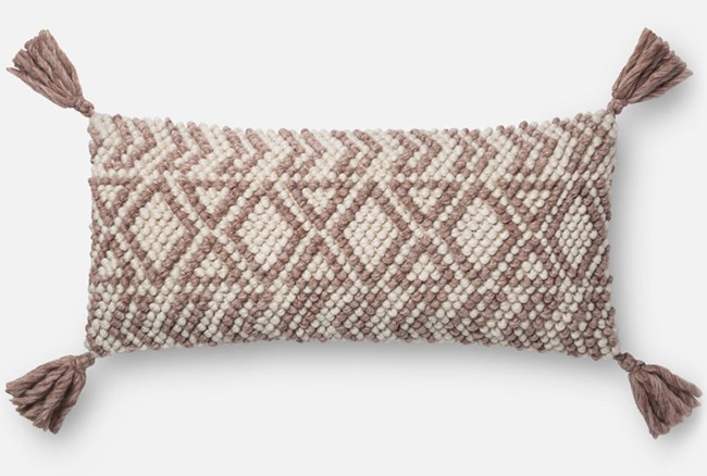 Accent Pillow-Magnolia Home Diamond Knot Burgundy 12X27 By Joanna Gaines - 360