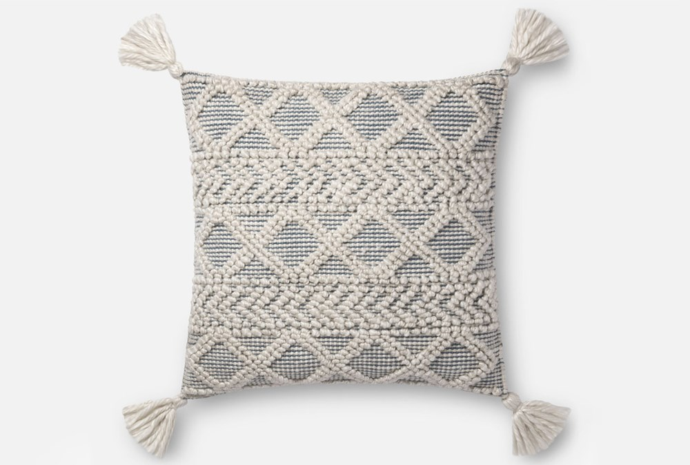 Accent Pillow-Magnolia Home Diamond Knot Ivory/Blue 22X22 By Joanna Gaines