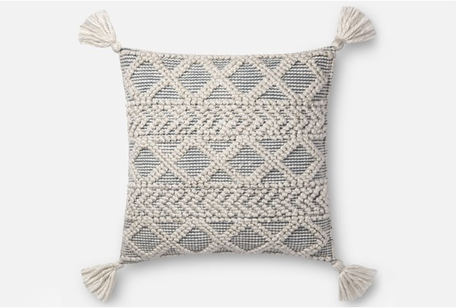 Accent Pillow-Magnolia Home Diamond Knot Ivory/Blue 22X22 By Joanna Gaines - 360