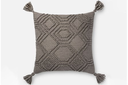 Accent Pillow-Magnolia Home Diamond Knot Grey 22X22 By Joanna Gaines - Main