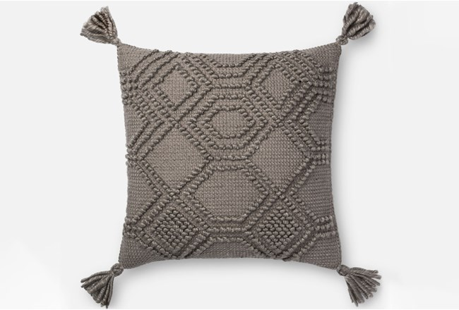 Accent Pillow-Magnolia Home Diamond Knot Grey 22X22 By Joanna Gaines - 360