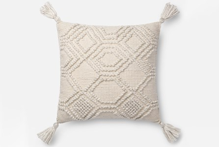 Accent Pillow-Magnolia Home Diamond Knot Ivory 22X22 By Joanna Gaines