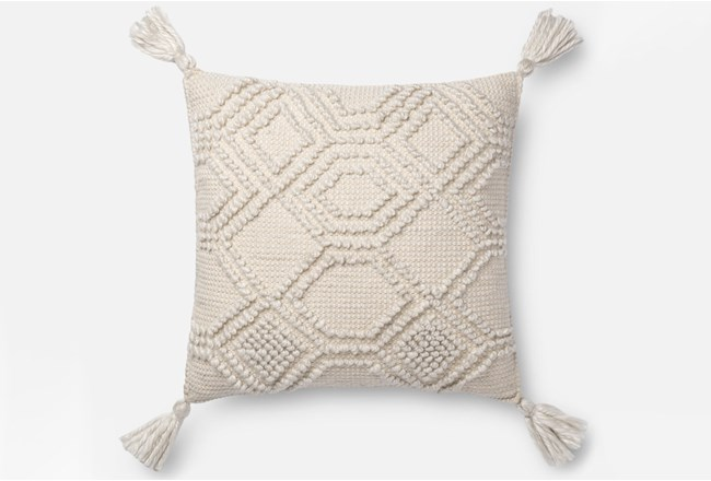 Accent Pillow-Magnolia Home Diamond Knot Ivory 22X22 By Joanna Gaines - 360