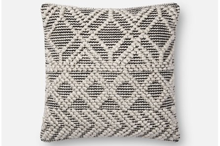 Accent Pillow-Magnolia Home Diamond Knot Ivory/Black 18X18 By Joanna Gaines