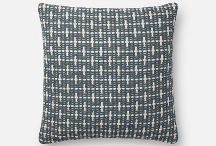 Accent Pillow-Magnolia Home Basketweave Blue 18X18 By Joanna Gaines