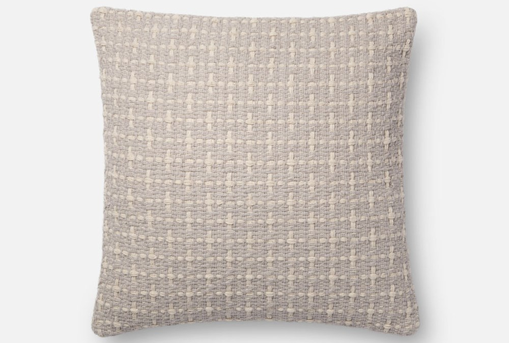 Accent Pillow-Magnolia Home Basketweave Grey 18X18 By Joanna Gaines