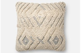 Accent Pillow-Magnolia Home Boucle Overlay Natural/Blue 18X18 By Joanna Gaines