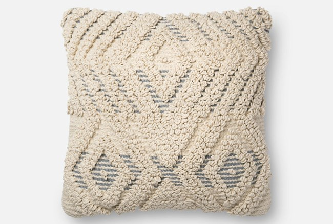Accent Pillow-Magnolia Home Boucle Overlay Natural/Blue 18X18 By Joanna Gaines - 360