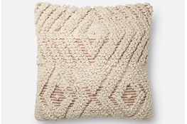 Accent Pillow-Magnolia Home Boucle Overlay Natural/Blush 18X18 By Joanna Gaines