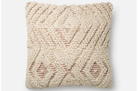 Accent Pillow-Magnolia Home Boucle Overlay Natural/Blush 18X18 By Joanna Gaines - Main