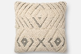 Accent Pillow-Magnolia Home Boucle Overlay Natural/Black 18X18 By Joanna Gaines