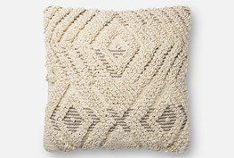 Accent Pillow-Magnolia Home Boucle Overlay Natural/Grey 18X18 By Joanna Gaines