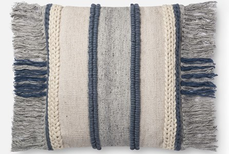Accent Pillow-Magnolia Home Braided Fringe Blue/Multi 22X22 By Joanna Gaines