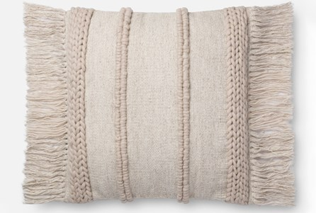 Accent Pillow-Magnolia Home Braided Fringe Beige/Beige 22X22 By Joanna Gaines