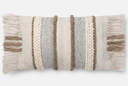 Accent Pillow-Magnolia Home Braided Fringe Beige/Multi 13X21 By Joanna Gaines