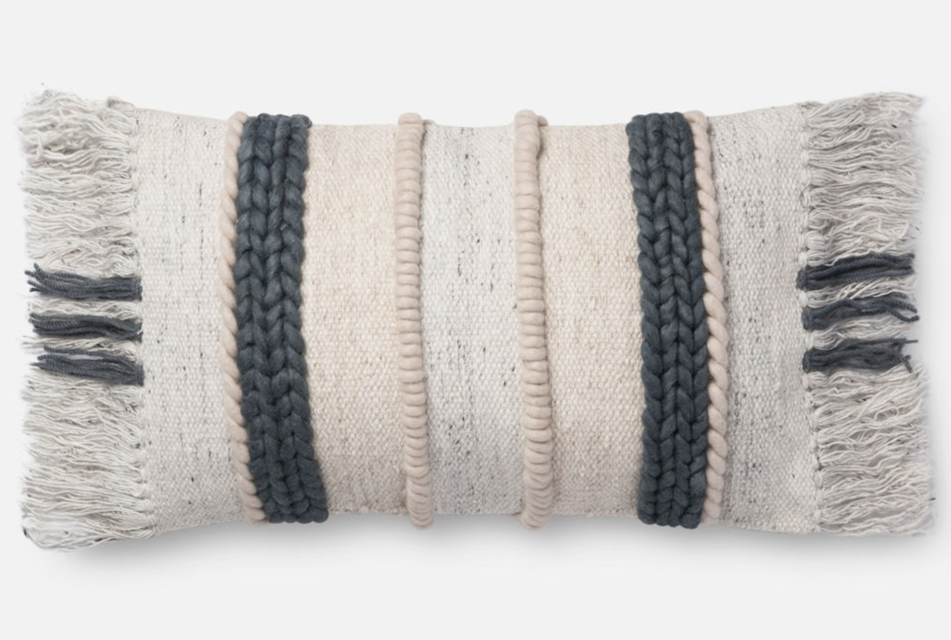 Accent Pillow Magnolia Home Braided Fringe Dk Grey Multi