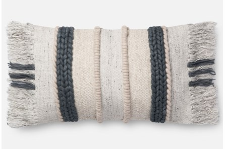 Accent Pillow-Magnolia Home Braided Fringe Dk. Grey/Multi 13X21 By Joanna Gaines
