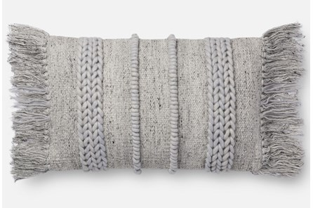 Accent Pillow-Magnolia Home Braided Fringe Grey/Grey 13X21 By Joanna Gaines