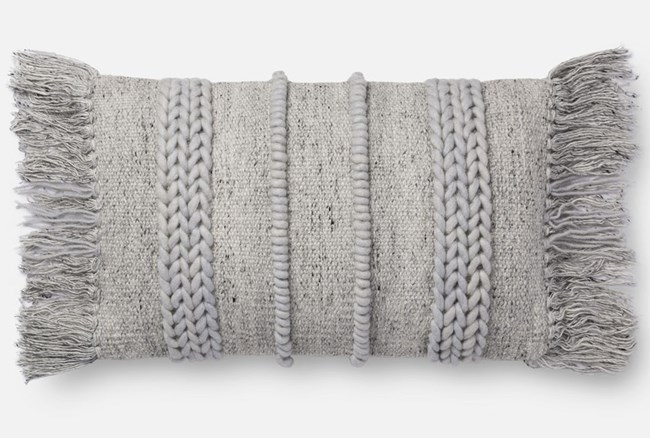 Accent Pillow-Magnolia Home Braided Fringe Grey/Grey 13X21 By Joanna Gaines - 360