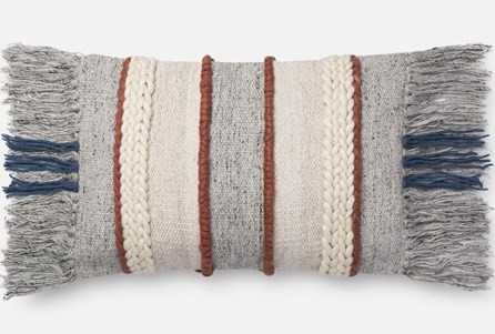 Accent Pillow-Magnolia Home Braided Fringe Grey/Multi 13X21 By Joanna Gaines