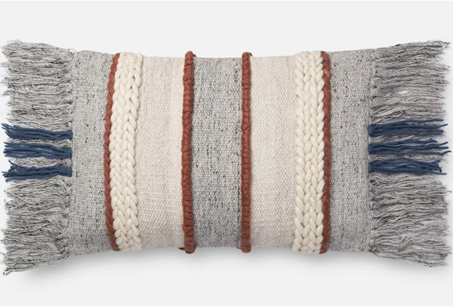 Accent Pillow-Magnolia Home Braided Fringe Grey/Multi 13X21 By Joanna Gaines - 360