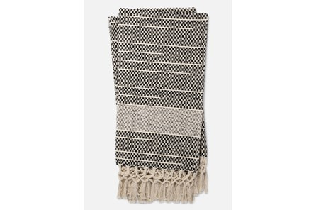 Accent Throw-Magnolia Home Braided Fringe Black/Grey By Joanna Gaines