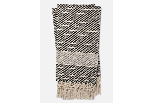 Accent Throw-Magnolia Home Braided Fringe Black/Grey By Joanna Gaines - 360