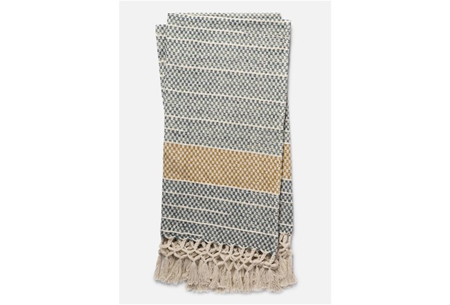 Accent Throw-Magnolia Home Braided Fringe Grey/Gold By Joanna Gaines - 360
