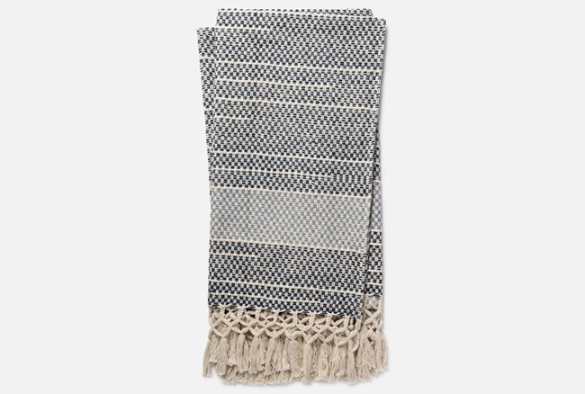 Accent Throw-Magnolia Home Braided Fringe Navy/Light Blue By Joanna Gaines - 360