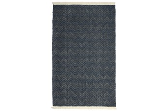 60X96 Outdoor Rug-Herringbone Fringe Navy
