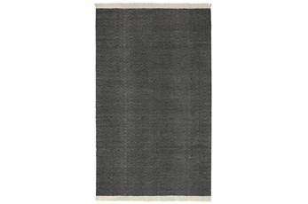 60X96 Outdoor Rug-Herringbone Fringe Charcoal