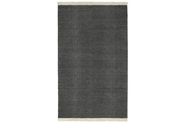 96X120 Outdoor Rug-Herringbone Fringe Charcoal