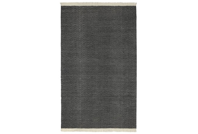 96X120 Outdoor Rug-Herringbone Fringe Charcoal - 360