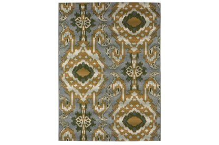 61X84 Outdoor Rug-Yellow And Green Large Ikat - Main