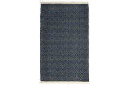 96X120 Outdoor Rug-Herringbone Fringe Navy