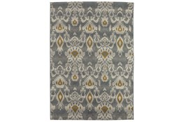 98X120 Outdoor Rug-Grey And Yellow Ikat