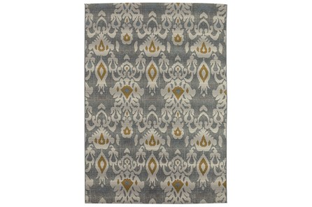 98X120 Outdoor Rug-Grey And Yellow Ikat - Main