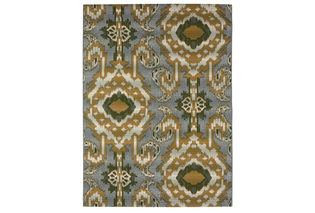98X120 Outdoor Rug-Yellow And Green Large Ikat - 360