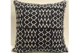 Accent Pillow-Indigo Patchwork Fringe 18X18