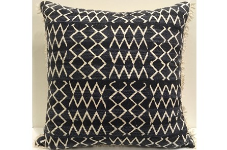 Accent Pillow-Indigo Patchwork Fringe 18X18