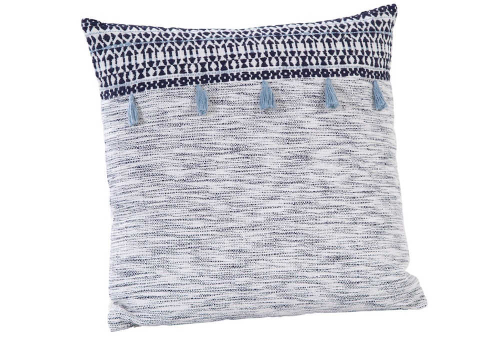 Accent Pillow-Grey With Blue Tassels 18X18