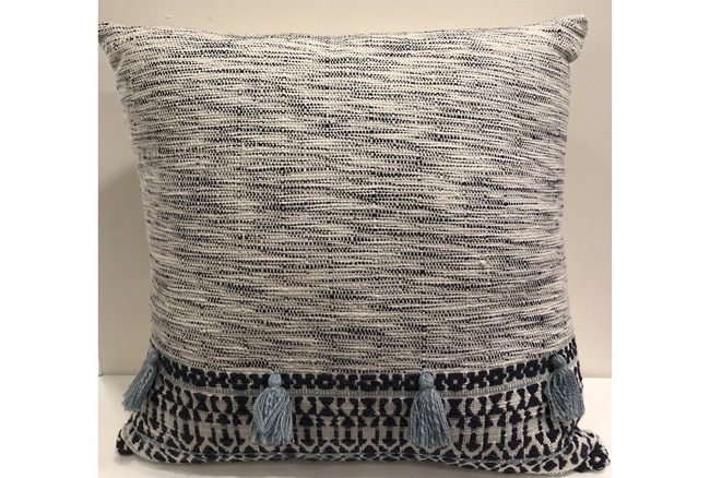Accent Pillow-Grey With Blue Tassels 18X18 - 360