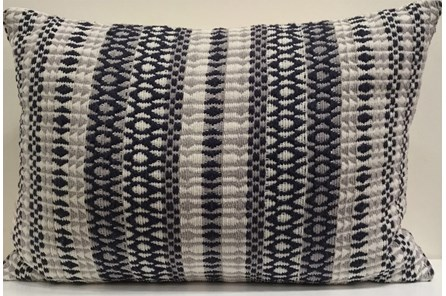 Accent Pillow-Emrboidered Navy Stripes 14X20