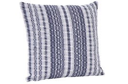 Accent Pillow-Emrboidered Navy Stripes 18X18