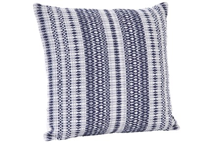 Accent Pillow-Emrboidered Navy Stripes 18X18 - Main