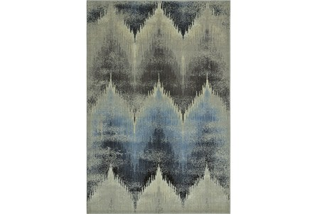 98X120 Rug-Large Flamestitch Blue/Grey